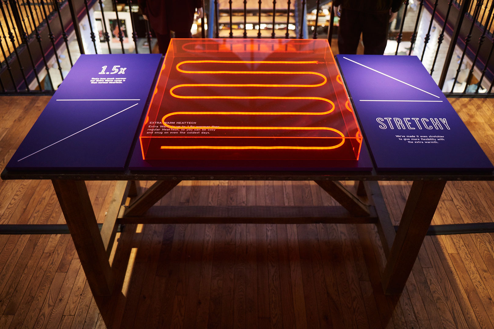 Table props with printed vinyl wrapped MDF and neon lights.
